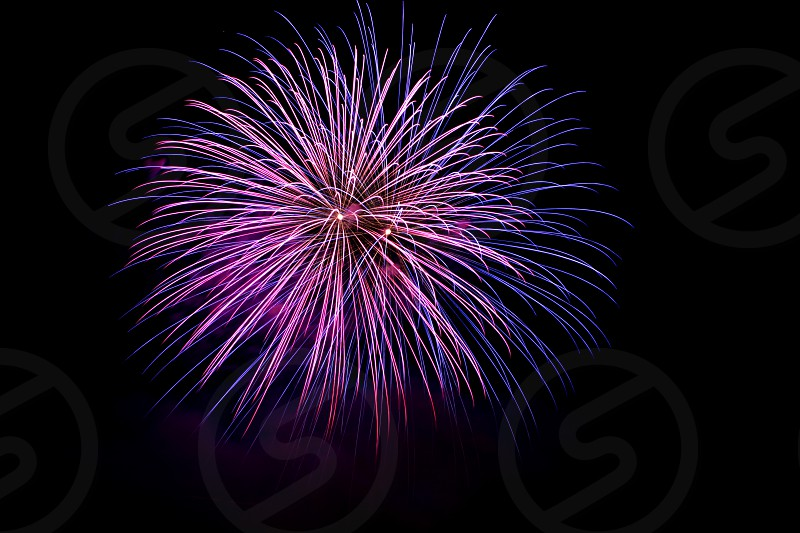 July July 4th fourth of july summer fireworks celebration night pink purple  photo