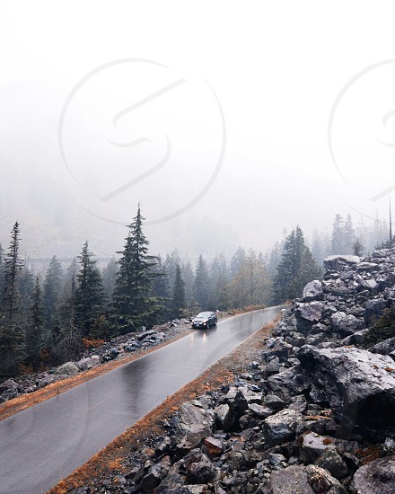 black car on gray concrete road with rocks surrounded with green pine trees photo