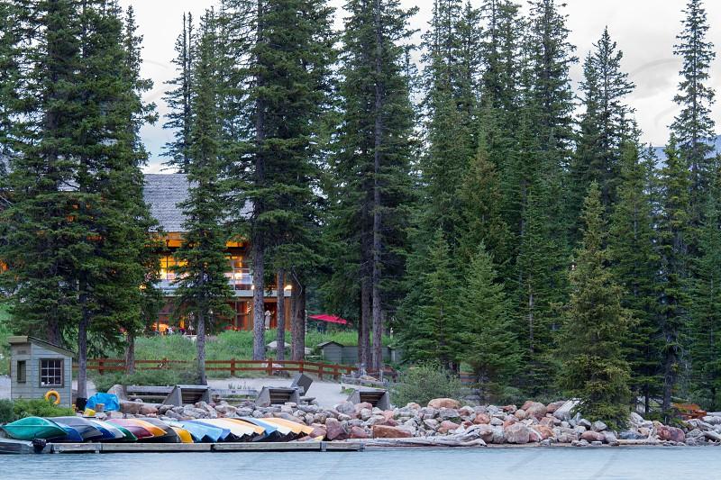 Canoes lined up on Lake Morraine.  Banff National Park photo