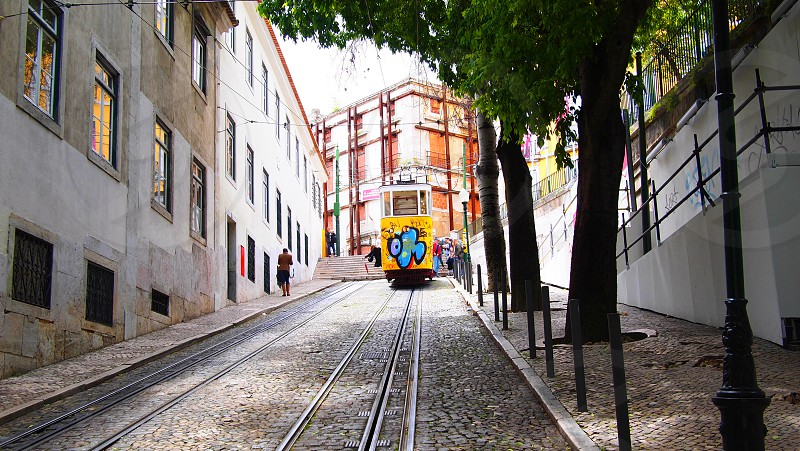A 'graffed' train track on the top of a hill. Lisbon Portugal. photo