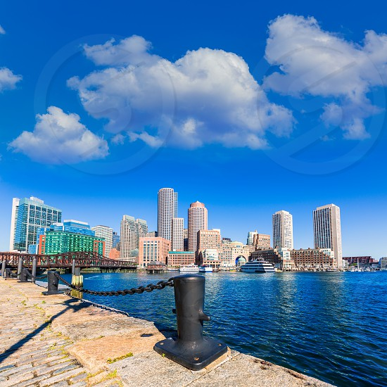Boston skyline from Fan Pier at sunlight in Massachusetts USA photo