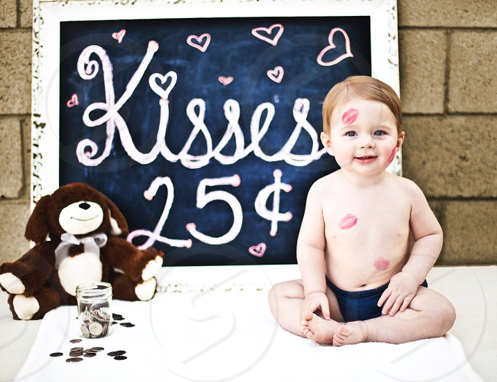 Baby photography toddler kisses Valentine's Day cute adorable love teddy bear sweet infant  photo