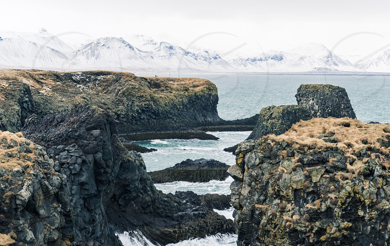 Iceland landscape coast cliffs photo