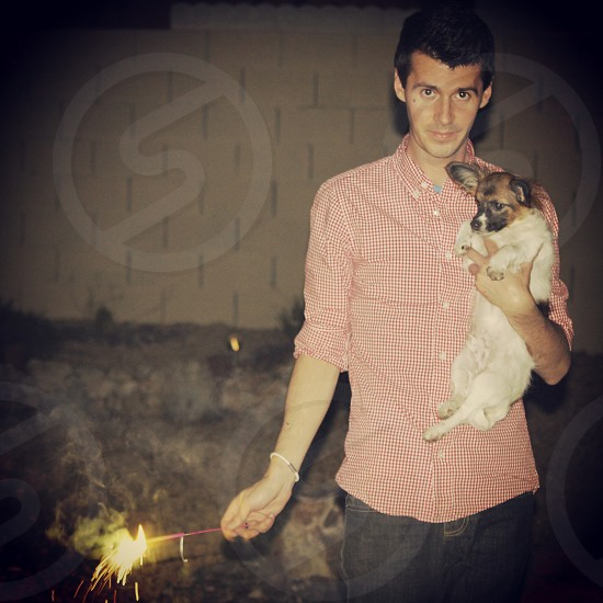 4th of July. Puppies & Sparklers.  photo