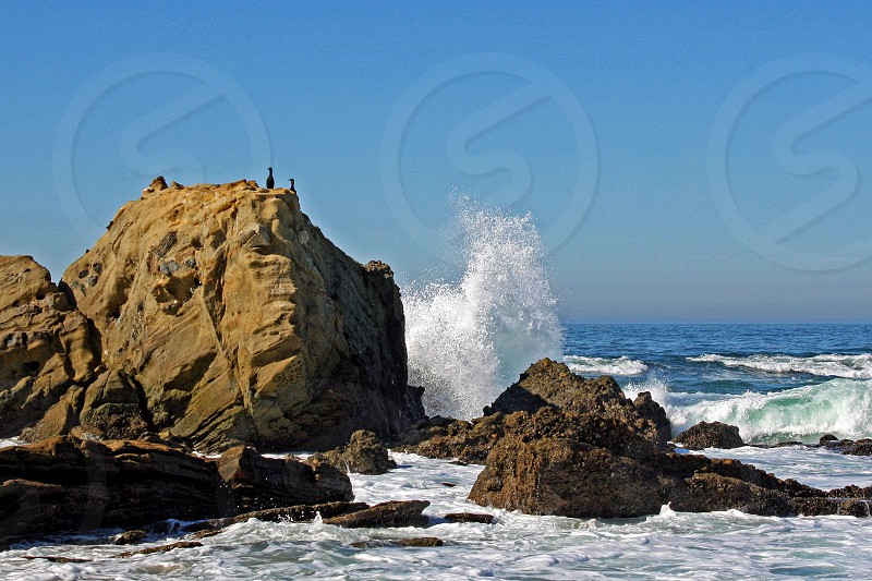 A wave crashes against a rock in a rocky cove. photo