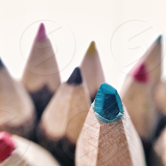 blue and red color pencils photo