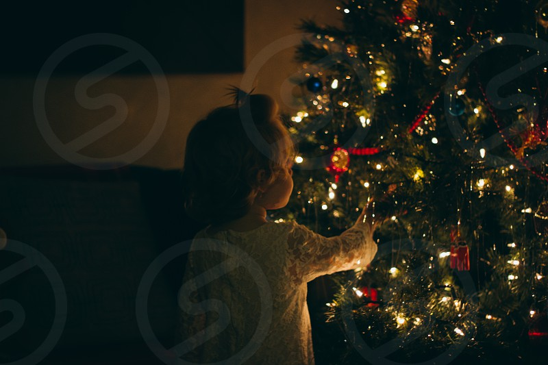 Little girl exploring the Christmas tree photo