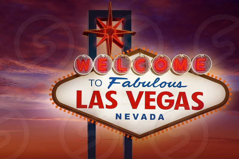 Welcome to Fabulous Las Vegas sign sunset sky Nevada photo mount photo