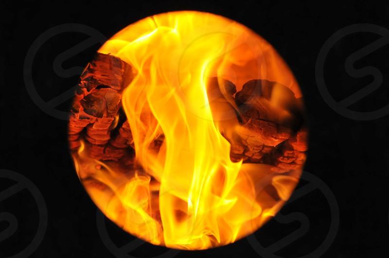 Flames fire orange yellow portal hot photo