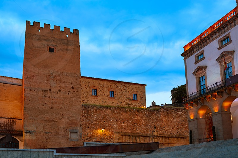 Caceres Plaza Mayor square Torre de la Hierba tower in Extremadura of Spain photo