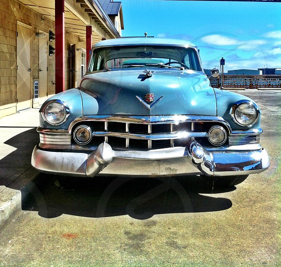 blue classic car photo