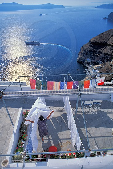 Another day doing laundry in Santorini Greece. photo