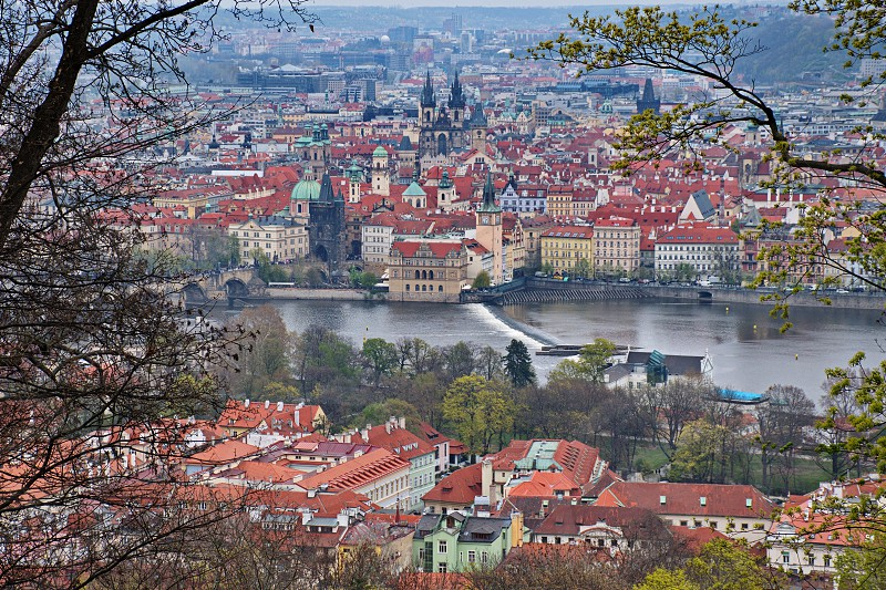 High angle view of Prague cityscape photo