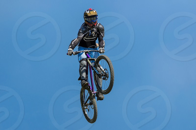 Downhill biker photo