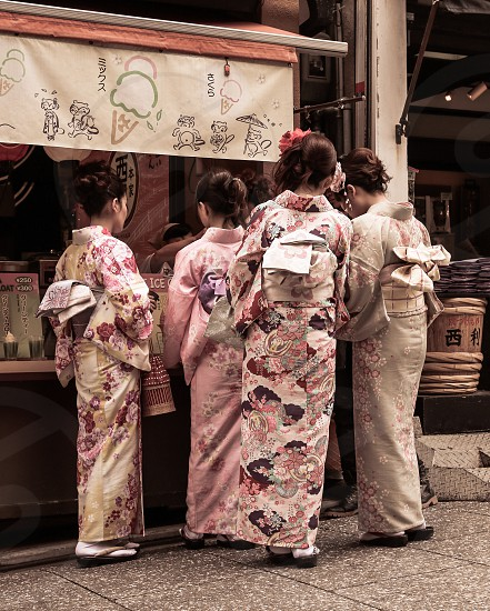 Summer Memories in Kyoto Japan. Ice cream. Kimono. Traditional. Muted colors.  photo