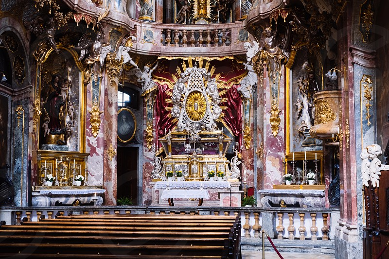 Inside Asam Church Munich Bavaria Germany photo