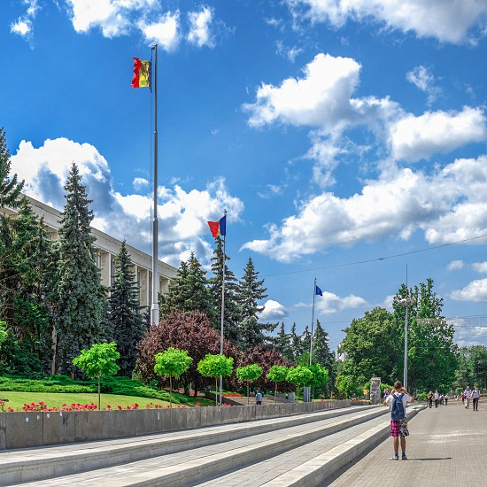 Chisinau Moldova – 06.28.2019. Government House in the center of Chisinau capital of Moldova on a sunny summer day photo