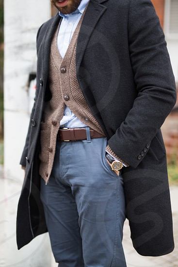Millennial male dressed in classic fall fashion photo