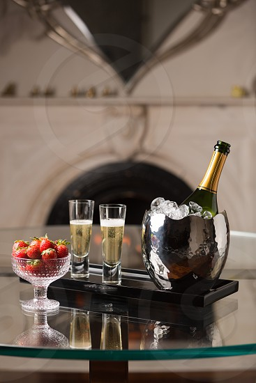 Champagne and strawberries. photo