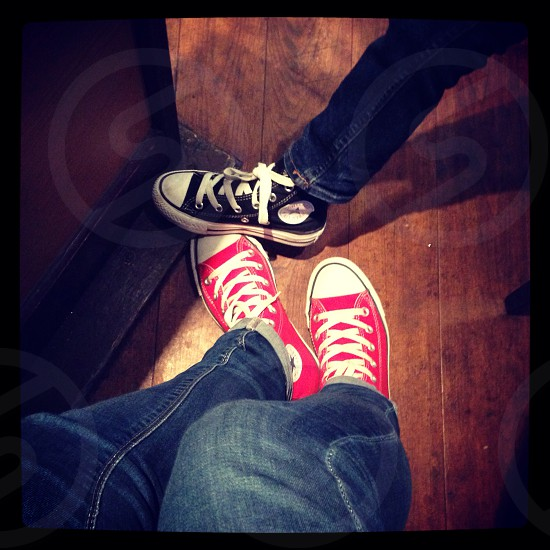 Mother and son matching shoes photo