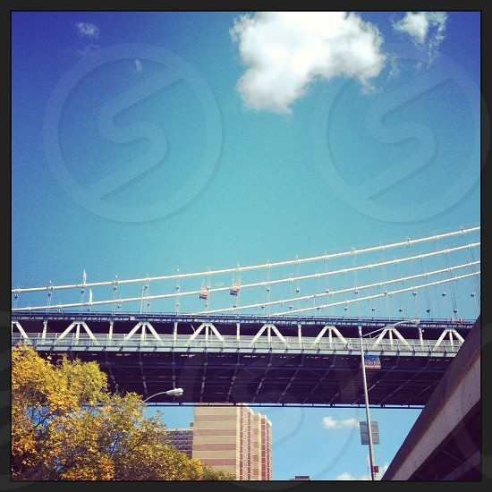 New York City street view Manhattan Brooklyn Bridge photo