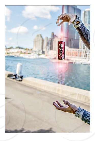 Magic coca-cola can hands product placement  photo