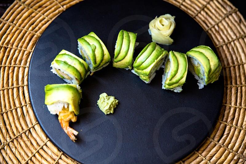 sushi with shrimp tempura and avocado photo