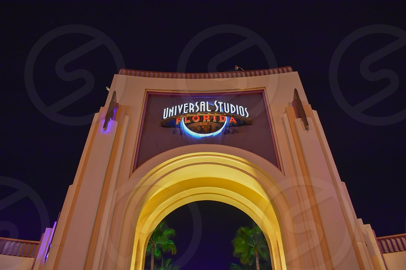 Orlando Florida. February 05 2019.  Top view of Universal Studios arch at night in  Universal Studios area (2) photo
