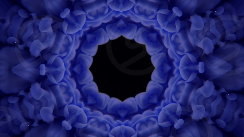 Abstact background. Kaleidoscopic. Blue color pattern made with particle system. Mirror prism creating effects shimmering lights and changing mandala shapes. photo