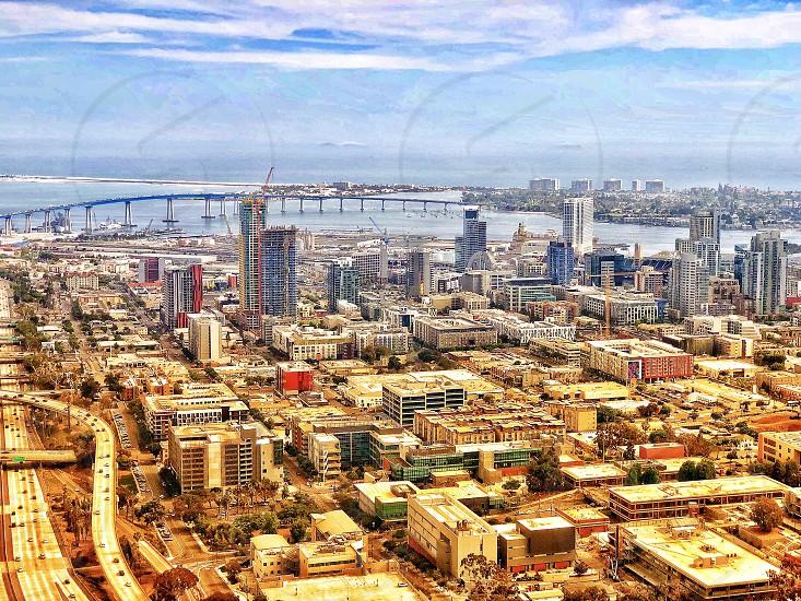 Archtecxture Challenge View of Downtown San Diego and the Coronado Bridge Aerial Shot  photo