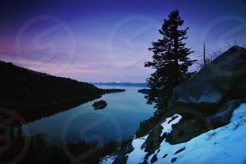 coniferous tree by lake and snow-covered hill photo