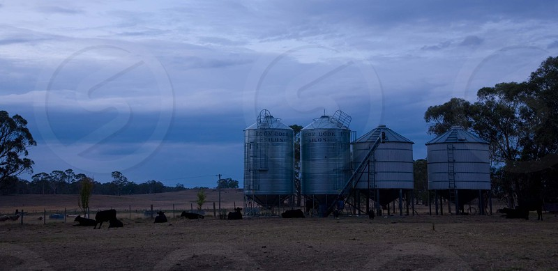 Grain silos on a farm in the early morning photo