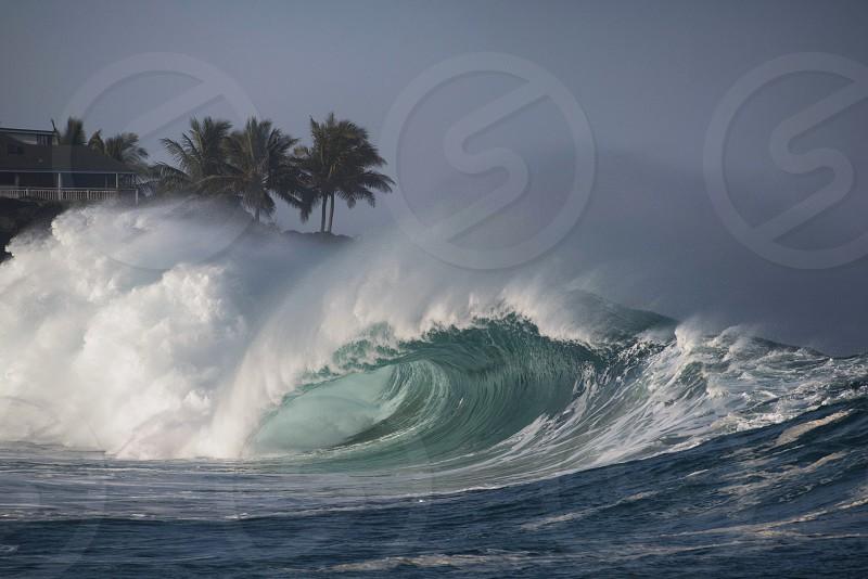 Oahu Hawaii north shore Waimea bay surfing waves photo