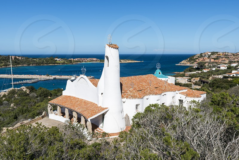 an old and typica church the church Stella Maris in Porto Cervo Costa Smeralda Sardinia Italy in the famous place of porto cervo where the rich and famous travel in summer photo