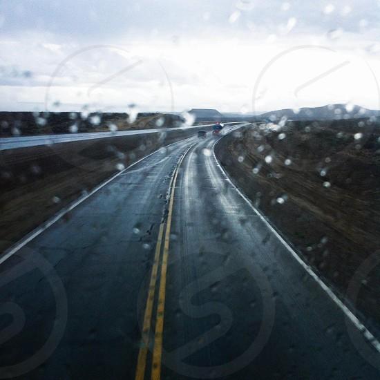 empty highway on a rainy day. photo