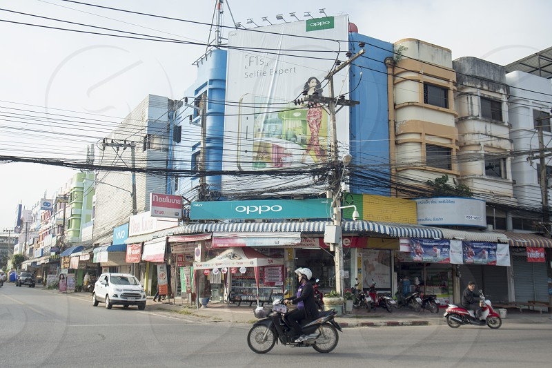 the city centres at the Bus Terminal in the city of Phayao in North Thailand. photo