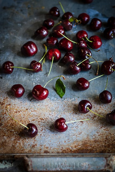 The last of the summer cherries freshly picked. photo
