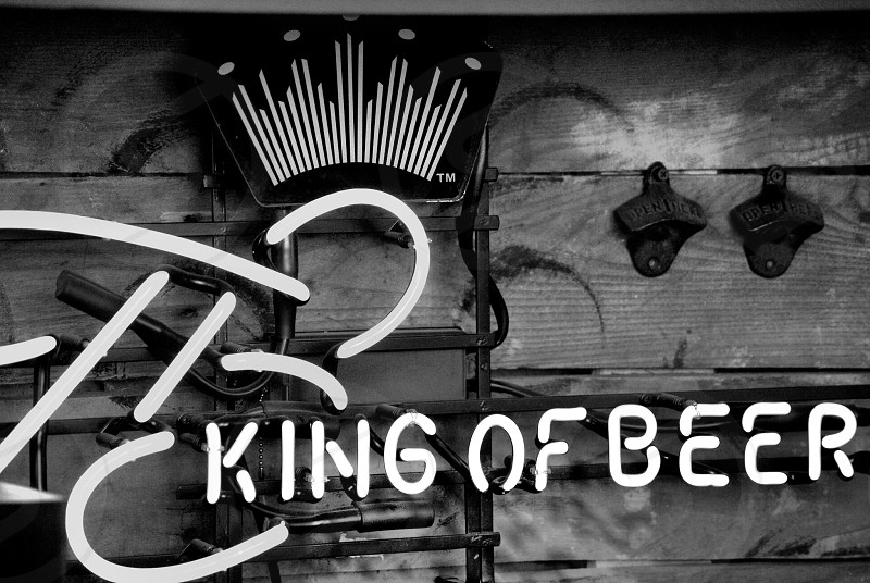 Beer sign in black and white photo