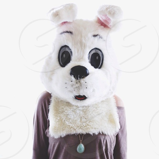person wearing white dog mascot head photo