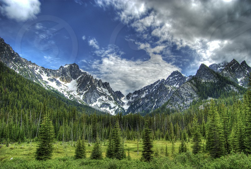 Mountains meadow blue sky clouds Washington Cascades hiking photo