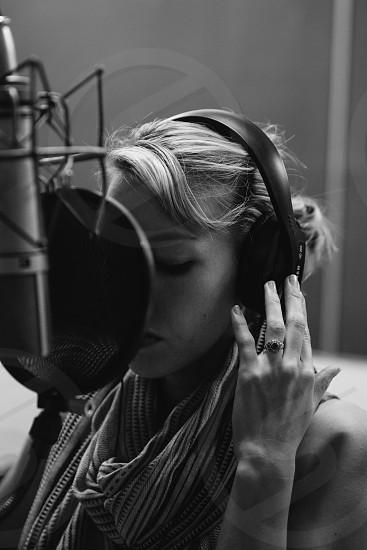 woman with black headphones photo