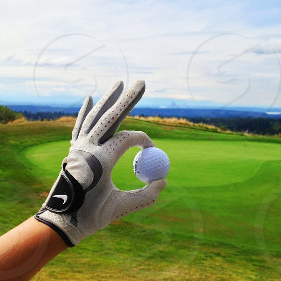person holding a golf ball photo