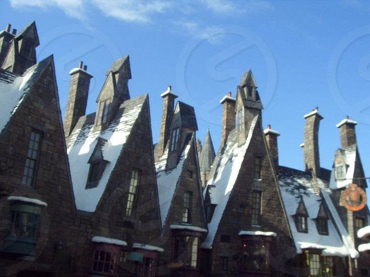 Outdoor Day Horizontal Landscape Colour Color Rooftops Roofs Universal Islands Of Adventure Wizarding World Of Harry Potter Orlando Florida Attraction Tourist Tourism Travel Wanderlust By Hayley Richards Photo Stock Snapwire