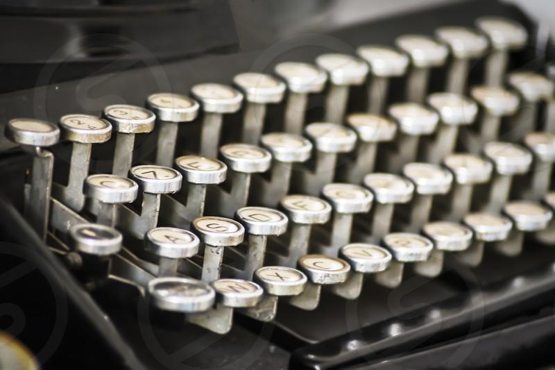 Antique typewriter keys close up selective focus photo