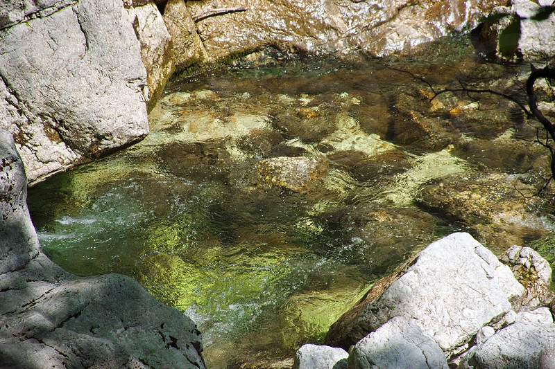 Closeup of creek flowing among the rocks photo