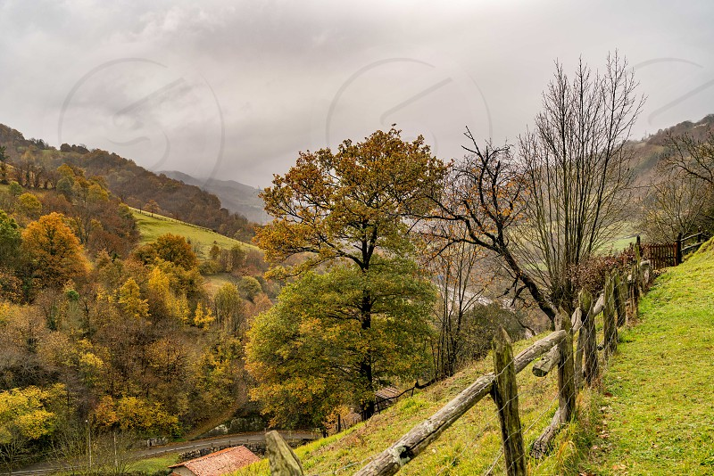 St Christine of Lena is a pre romanesque church in the province of Asturias Spain with beautiful mountains and valleys all around. photo