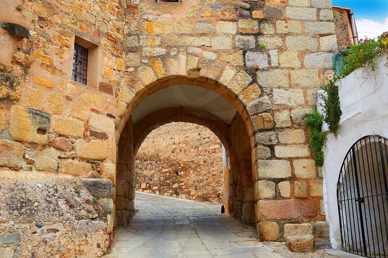River door Arco del Cristo in Caceres of Spain at Extremadura photo