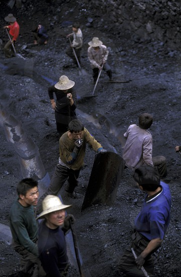 the coal workers in the village of fengjie in the three gorges valley up of the three gorges dam project in the province of hubei in china. photo