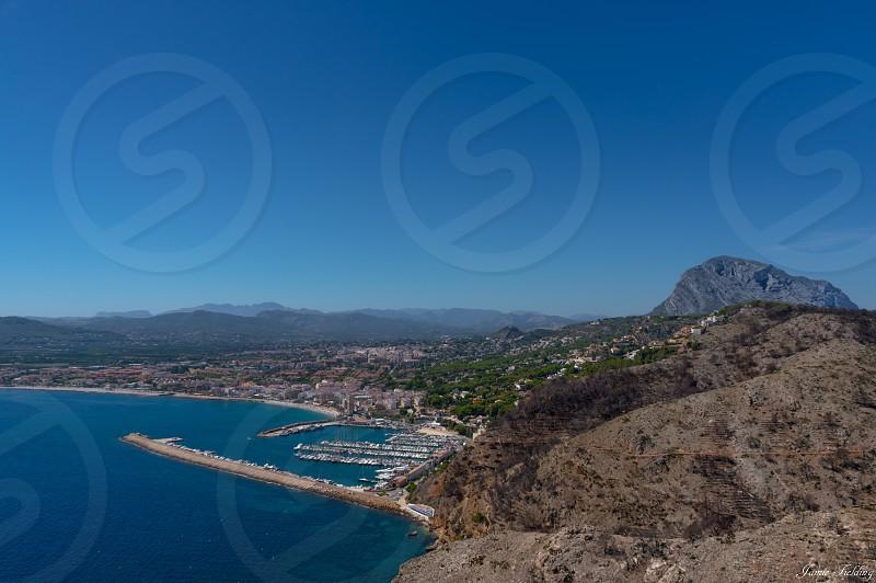 Spain javea sea port harbour mountain view photo