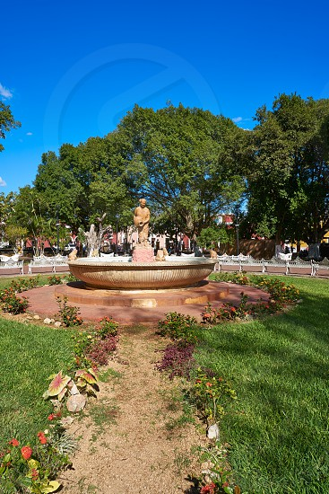 Valladolid city park fountain of Yucatan in Mexico photo
